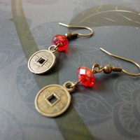 Chinese Coin Earrings Red Crystals Antique Brass Dangle Earrings | LittleApples - Jewelry on ArtFire