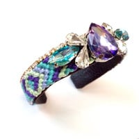 Purple Turquoise Mint Friendship Cuff Bracelet Rhinestone Colorful One of a Kind Boho Spring Summer Handmade
