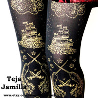 Pirate Tights Narwhals Small Gold on Black Women Nautical Tattoo Sailor