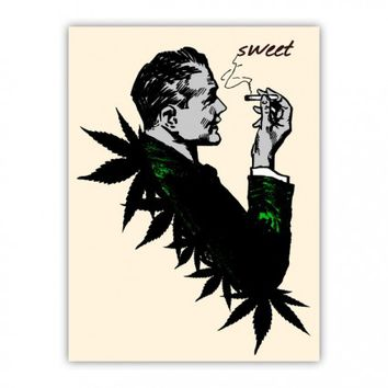 Politics and Weed Sweet Politician Smoking Weed Pot Marijuana Hemp Wood Print