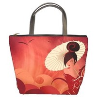Sakura Asian Geisha Bucket Handbag
