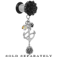 0 Gauge Black Flower Nautical Anchor Dangle Plug | Body Candy Body Jewelry
