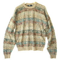 Textured Squares Olive Green Cosby / Golf Sweater