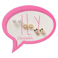 Flower Owl Stud Earring 3-Pack