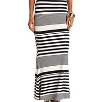 Back Slit Striped Maxi Skirt