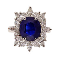 Royal Blue Sapphire And Marquise Diamond Ring c1950