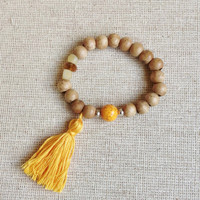 Beaded Summer Bracelet with Macaroni Orange Tassel