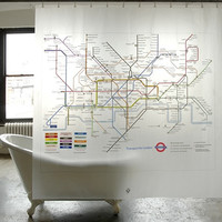 PEVA London Underground Shower Curtain design by Izola | BURKE DECOR