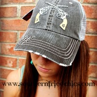 Gray Designer Trucker Hat with Double Pistols