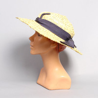 30s Yellow STRAW HAT / Navy Blue Ribbon Detail / NRA Label