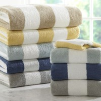 PB CLASSIC STRIPE 650-GRAM WEIGHT BATH TOWELS