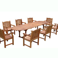 9-Piece English Garden Dining Set with Oval Extension Table