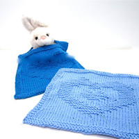 blue baby bib knit & washcloth set royal blue Delft blue YOUR HEART in MINE organic cotton hand knit gift