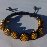 Gold Unisex Shamballa Bracelet With Pave Shamballa Rhinestone Beads, Hematite Crystal Beads And Black Macramé Cord