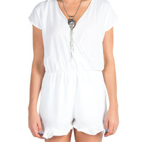 Solid Ruffle Trim Romper - White