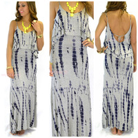 Shorebreak Gray Tie Dye Tank Maxi Dress