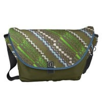 Olive Lime White Zigzag Print Messenger Bag