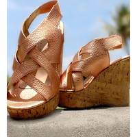 Leather Criss-Cross Wedges, in Gold or Bronze