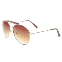 Tortoise Brow Bar Aviator Sunglasses | Wet Seal