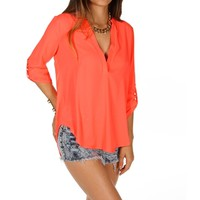 Neon Coral 34 Sleeve Top