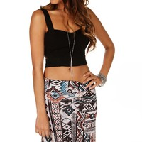 Black Bar Side Crop Top