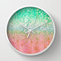 Summer Rain Merge Wall Clock by Lisa Argyropoulos | Society6