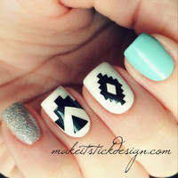 Aztec Vinyl Nail Decal - YOU CHOOSE COLOR- Set of 60 Stickers