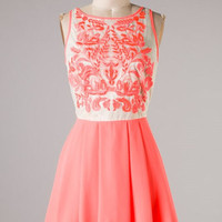 Stunning Details Dress - Bright Coral - Hazel & Olive