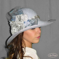 ANASTASIA Straw Floppy Brim Light Blue Bridal Hat Sequined Hatband Gray Vintage Rose Netting Organza Ribbon Vintage Gray and Japanese Leaves