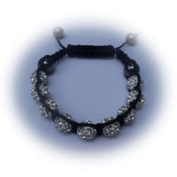 White Shamballa Bracelet With Pave Shamballa Rhinestone Beads, Hematite Crystal Beads And Black Macramé Cord Unisex Bling