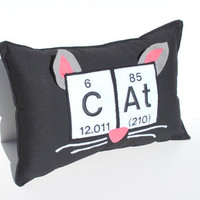 Cat Pillow with Periodic Table Chemical by YellowBugBoutique