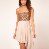 Pink Strapless Chiffon Cocktail Dress with Sequin