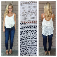 Cream Crochet Asymmetrical Crop Tank
