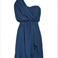 Royalblue Chiffon Elegant Knee Length Cocktail Dress