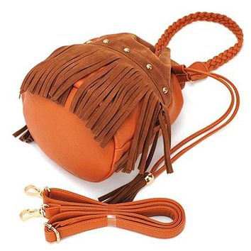 Vintage Tassel Rivets Drawstring Braided Strap Shoulder Bucket Bag