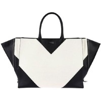 Celebrity Black and White Large Double Handle Tote Bag Handbag