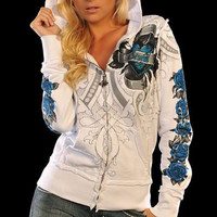 $78 Sinful Skull T-Shirt Angel Wings Rose Zip Up Hoodie Sweatshirt Womens S-XL