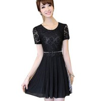 Fashion Womens Lace Chiffon Short Sleeve Dress Lady Slim One-piece Party Dress