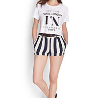 Striped Linen-Blend Shorts