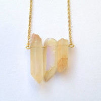 Crystal Point Necklace Peach Translucent Coated Aura Crystal Necklace Rainbow Quartz Crystal Stick Pendant Modern Boho Stone Pendant Aura