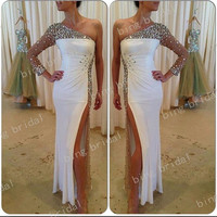 Sheath One Shoulder A&B style Slit Beads Full Floor Length Sequins Evening Dress Party Dress Prom Dress Bridemaids Dress 2014