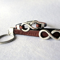 Infinity couple Personalized leather, Set keychain and bracelet for him and her, gift idea for couples, leather and silver plated