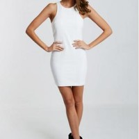 White Sleeveless Racerback Dress with Faux Leather Stripe