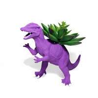 Up-cycled Dark Purple Dilophosaurus Dinosaur Planter