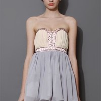 Blue & Beige Beads Embellished Bustier Dress