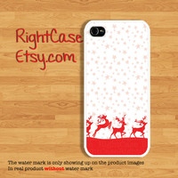 Red Reindeer Christmas Phone Case, Samsung Galaxy S4, Galaxy S3 Case, iPhone 5 Case, iPhone 4, 4S, iPhone 5S Case, iPhone 5C, Snow Winter