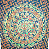 Indian mandala wall hanging,Elephant Mandala Tapestry,dorm wall hanging,Hippy Mandala Tapestry Cotton Mandala BedCover,Bohemian Wall Hanging