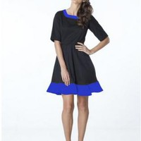 Black Elegant Dress with Blue Color Block Detailing and Quar