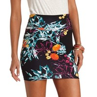 Abstract Tropical Print Bodycon Mini Skirt
