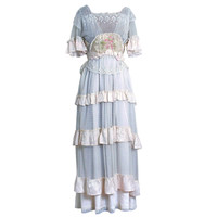 1910's Ethereal Ivory-White Lace & Watercolor Garden-Floral Silk Dress